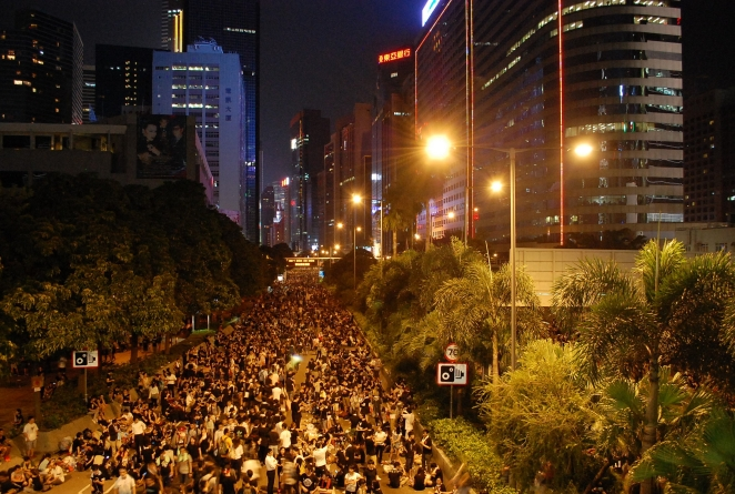"Hong Kong protest near Wan Chai"" by Citobun - Own work. Licensed under Creative Commons Attribution-Share Alike 4.0 via Wikimedia Commons"